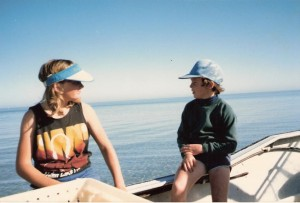 My best mate Sharon and I out on a commercial fishing trip with her dad.