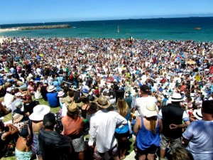 Shark lovers as far as the eye could see on Cottesloe beach.