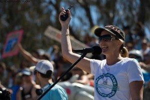 Natalie Banks rallying the troops at the Feb 4th Cottesloe protest.